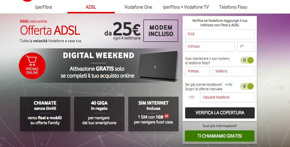 Adsl attivazione Vodafone