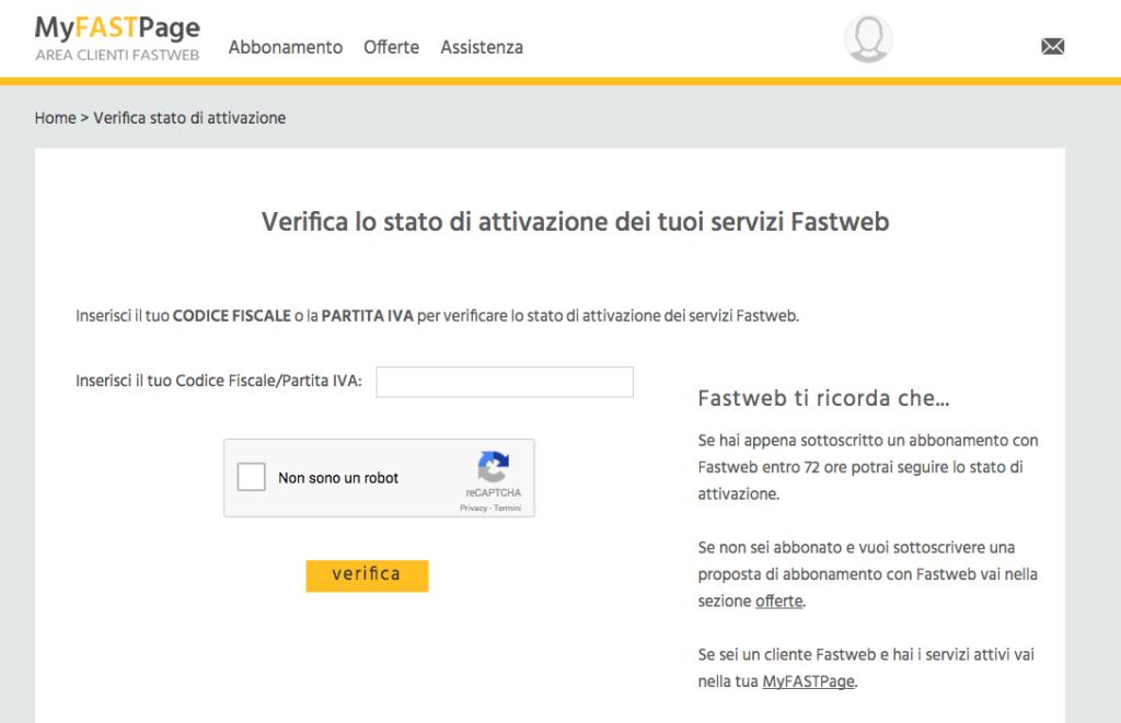 Verifica attivazione Fastweb