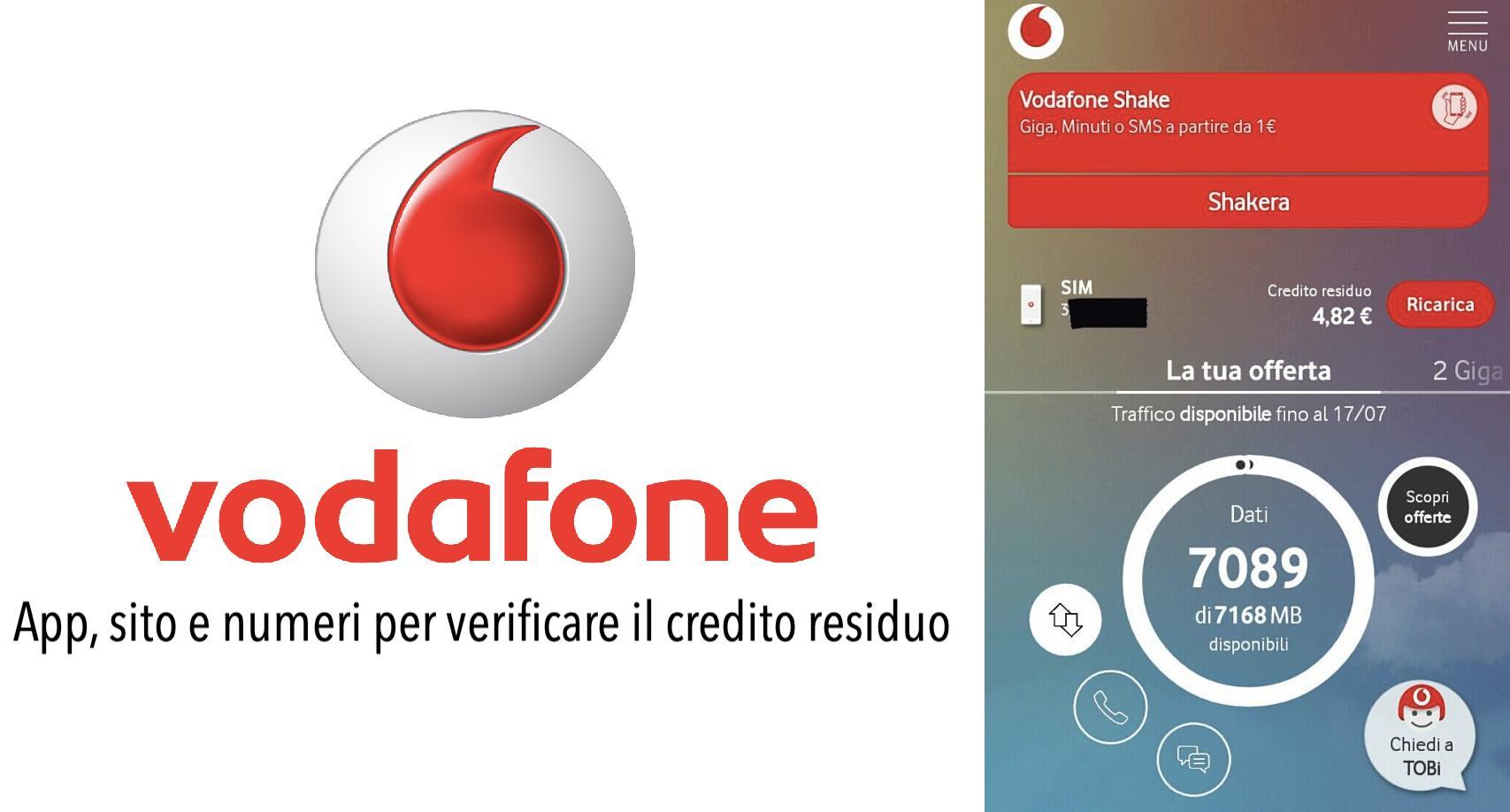 Contatori Vodafone come controllare credito residuo